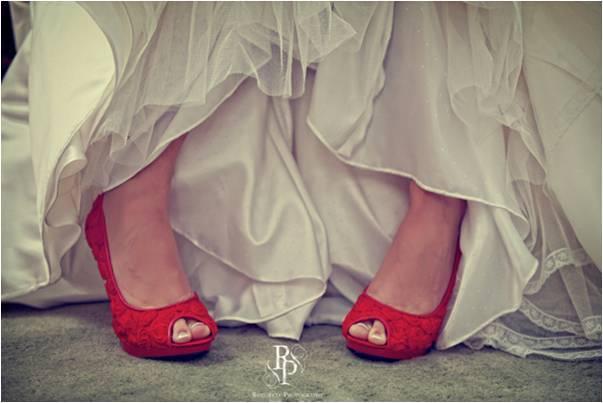 Real-wedding-rothwell-hot-red-bridal-heels-peep-toe-ivory-wedding-dress.full