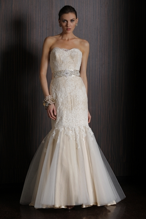 Champagne mermaid wedding dress with lace overlay from 2011 Badgley Mischka brides