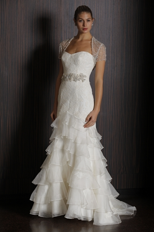 Ivory lace strapless 2011 Badgley Mischka wedding dress with jeweled bridal belt