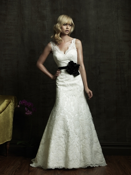 8825-2011-wedding-dress-allure-trumpet-v-neck-black-belt.full