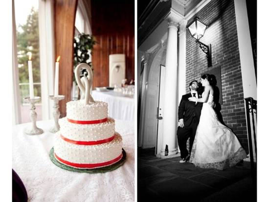 Classic white wedding cake made with vegan ingredients, red band details