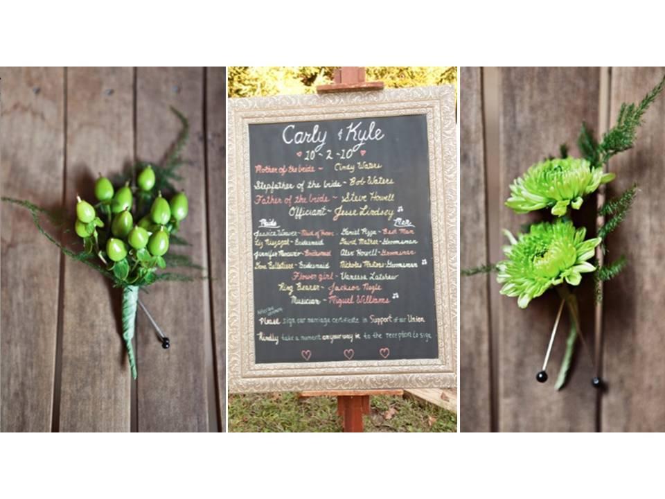 Vegan-outdoor-wedding-eco-chic-boutineres-chalkboard-wedding-ceremony-decor.full