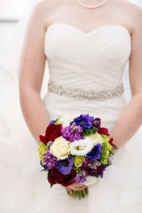 purple, burgundy, gray, and green bridal bouquet