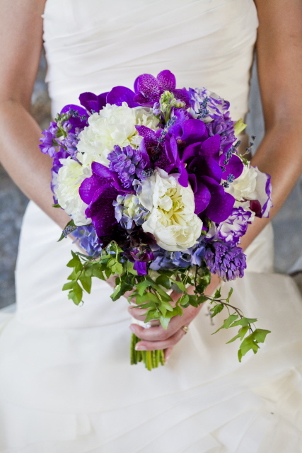 white peony and purple orchid bridal bouquet