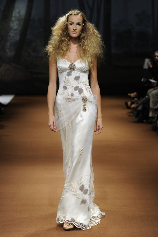 Slinky silk mermaid wedding dress with gorgeous applique from Claire Pettibone's 2011 bridal line