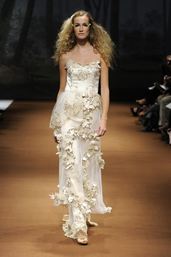 2011 Fauna wedding dress with champagne floral embellishments