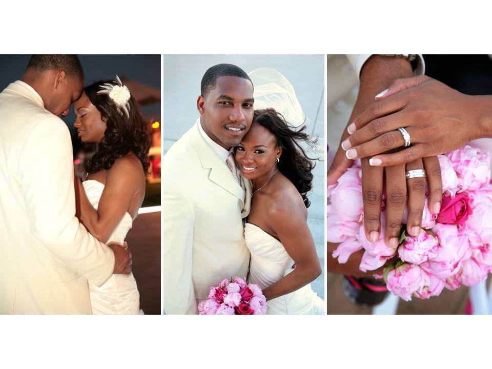 Beautiful bride and groom share first dance; show off diamond engagement ring and wedding bands