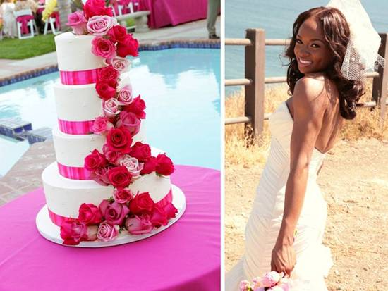 White 4-tier stacked wedding cake with hot pink roses