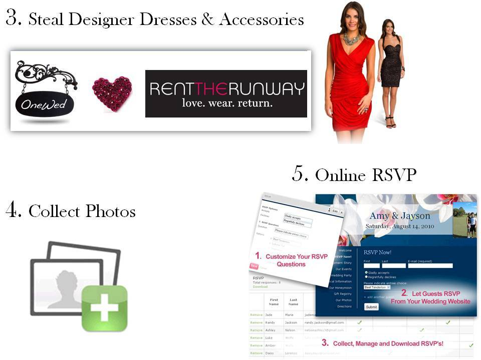Score free designer dress rentals, manage RSVPs online, and collect photos from all your wedding gue