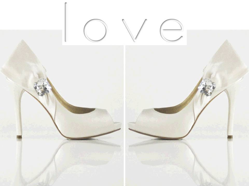 Sky high white satin bridal heels with rhinestone detail