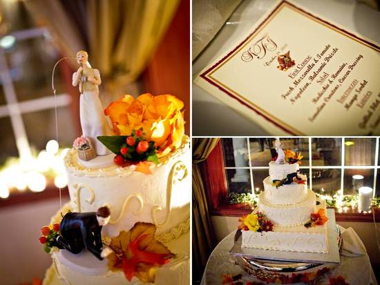 Traditional white wedding cake with fall flowers & leaves, and fun bride and groom cake toppers