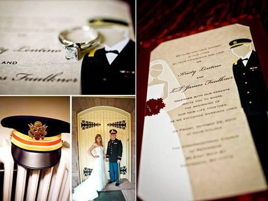 Wedding invitations with groom in uniform, diamond engagement ring on top