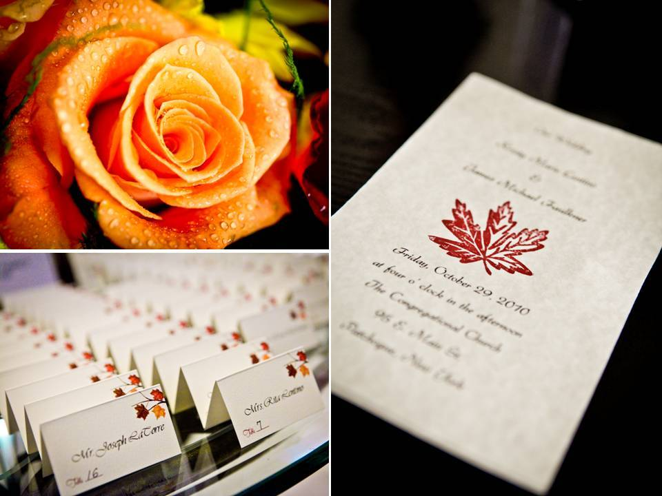 Orange roses as fall wedding flowers white wedding invitations with