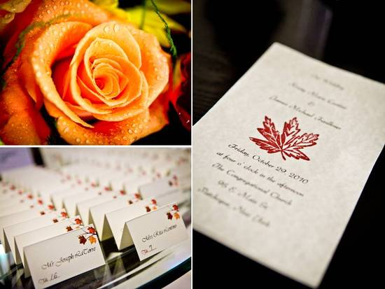 Orange roses as fall wedding flowers; white wedding invitations with autumn leaf design
