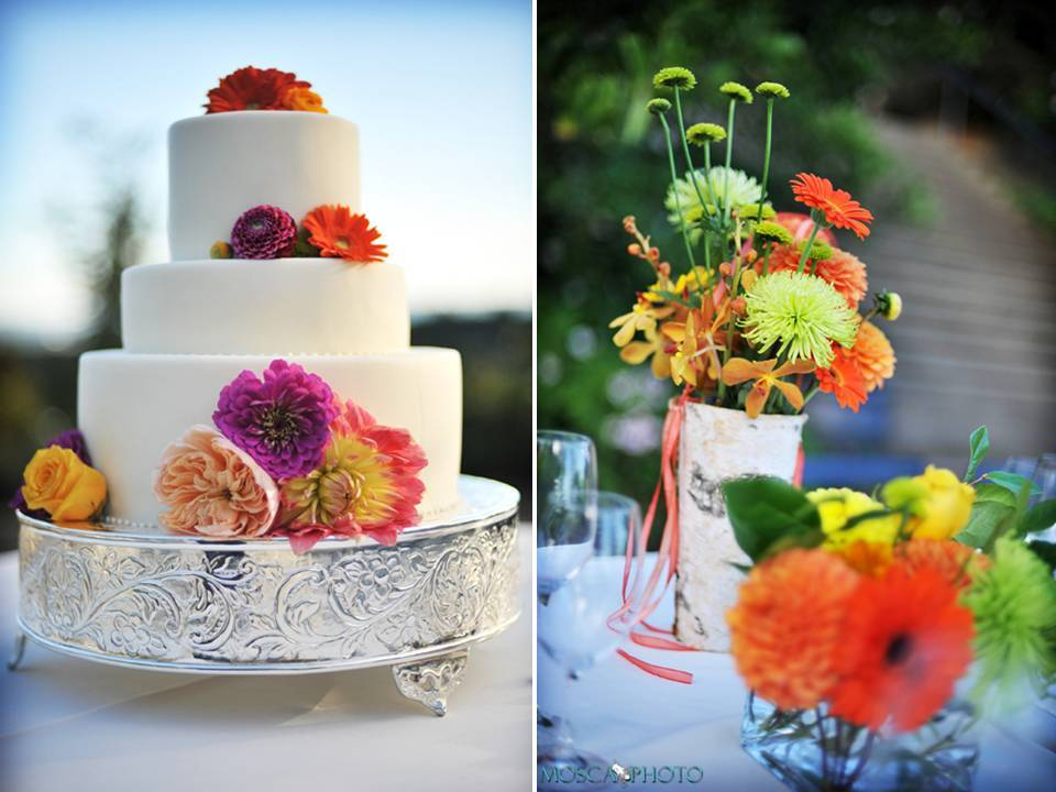 Portland-oregon-vineyard-wedding-reception-decor-white-wedding-cake-bright-wedding-flowers.full