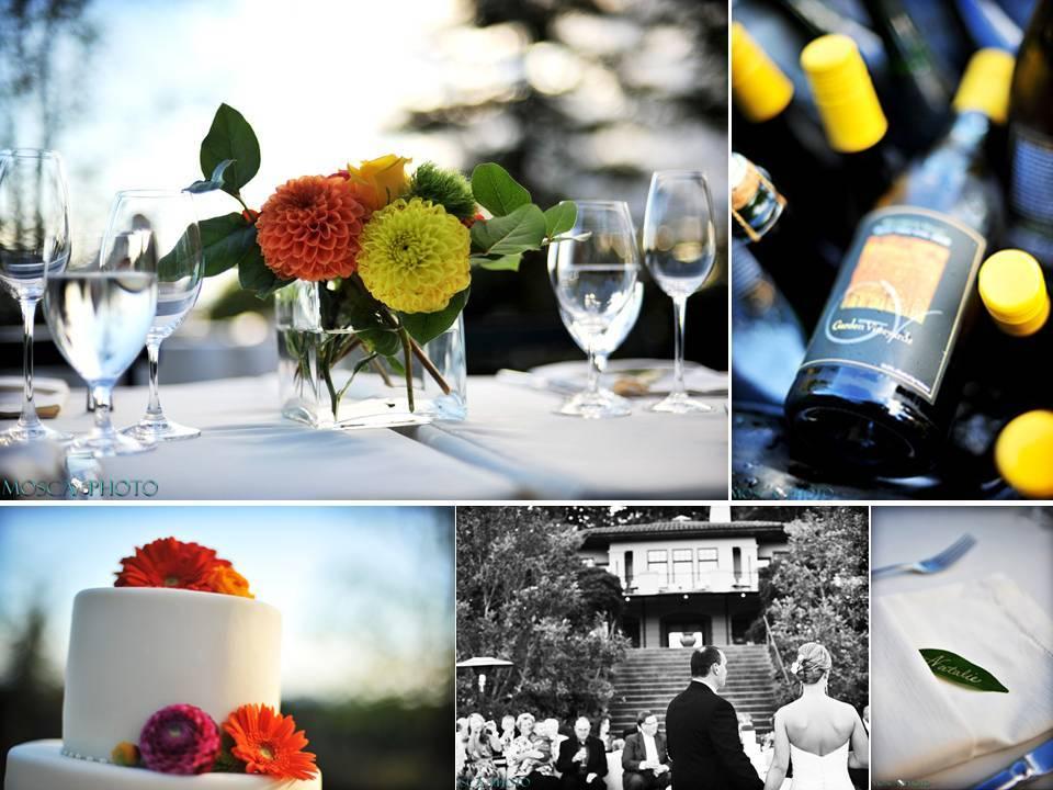 Outdoor-winery-wedding-portland-oregon-white-wedding-cake-orange-pink-gerbera-daisy-wedding-flowers.full