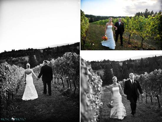 Portland bride and groom walk through vineyards of wedding venue