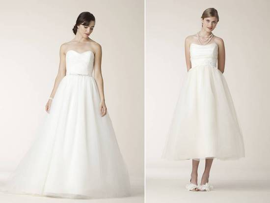 Full length strapless ball gown and tea length strapless tulle ballgown by Amy Kuschel