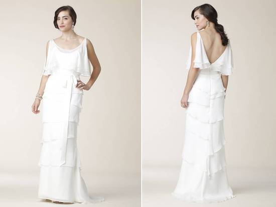 2011 Amy Kuschel wedding dress- off-the-shoulder scoop neck tiered layers, open back