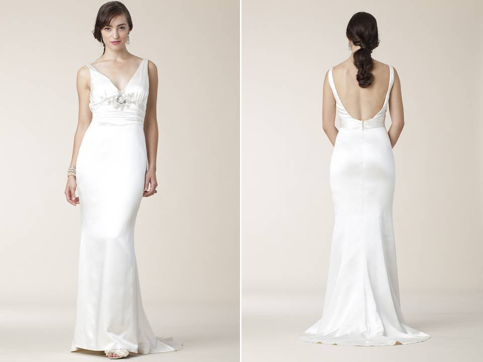 Slinky Silk Halter Sheath Mermaid Wedding Dress Open Scoop Back
