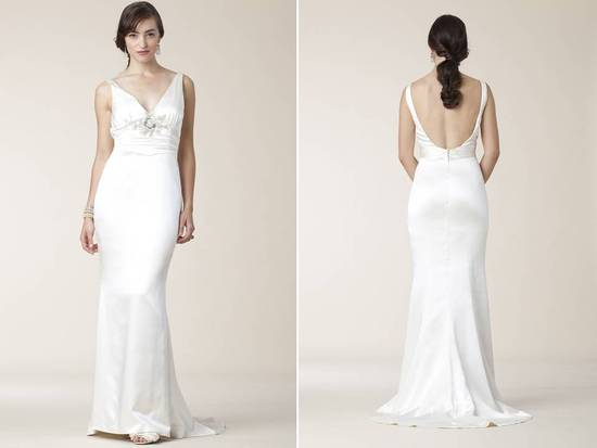 Slinky silk halter sheath/mermaid wedding dress open scoop back