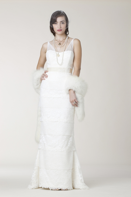 Vintage-inspired 2011 lace column wedding dress by Amy Kuschel