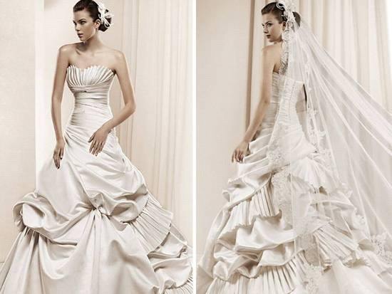 Regal champagne satin ball gown wedding dress from La Sposa's 2011 collection