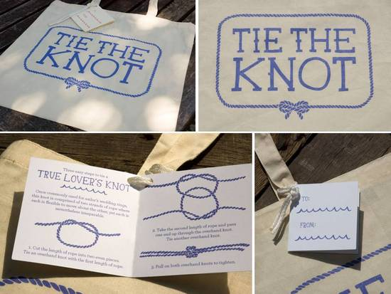 Adorable Tie The Knot natural tote bag with lavender silk screened writing