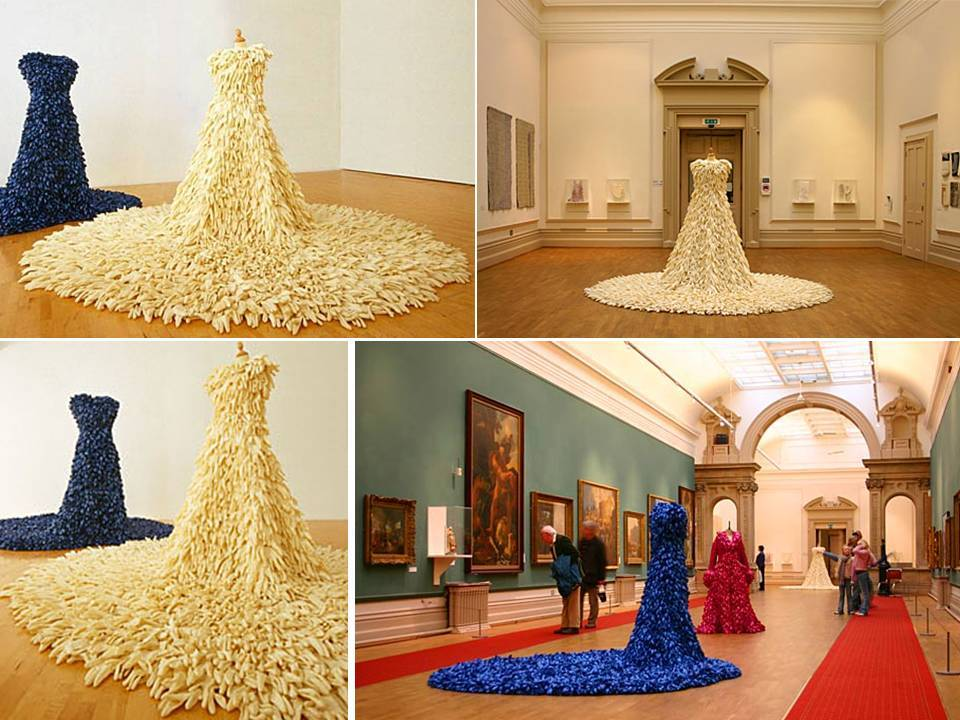 wedding dress sculpture made from 1400 rubber dishwashing gloves turned inside out