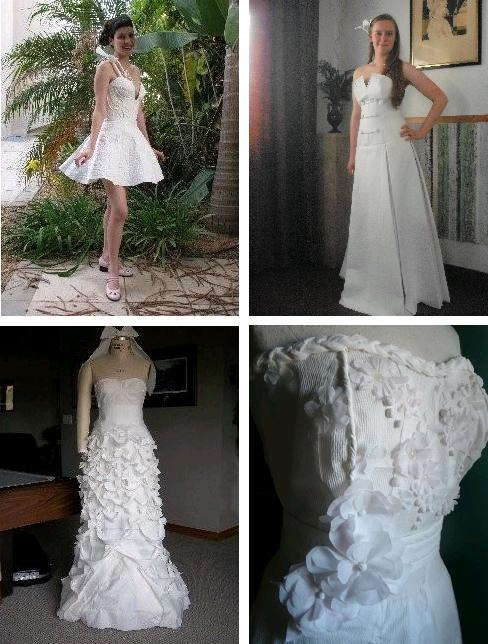 Cheap-Chic-Weddings- wedding dresses made from toilet paper