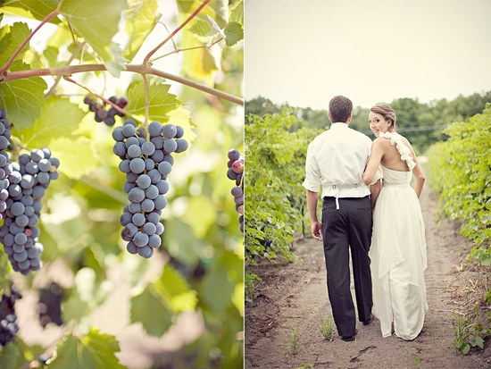 Gorgeous New Hampshire vineyard wedding- bride and groom walk together after saying I Do