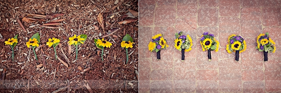 Sunflower wedding flowers (bridesmaid bouquets and boutonnieres ...