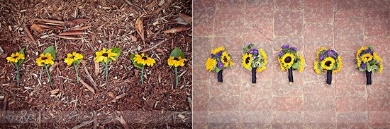 Sunflower wedding flowers (bridesmaid bouquets and boutonnieres), totally DIY
