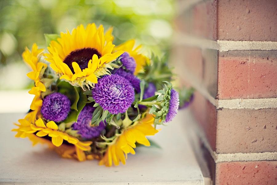 Memorable Wedding Sunflower Bouquet With Purple
