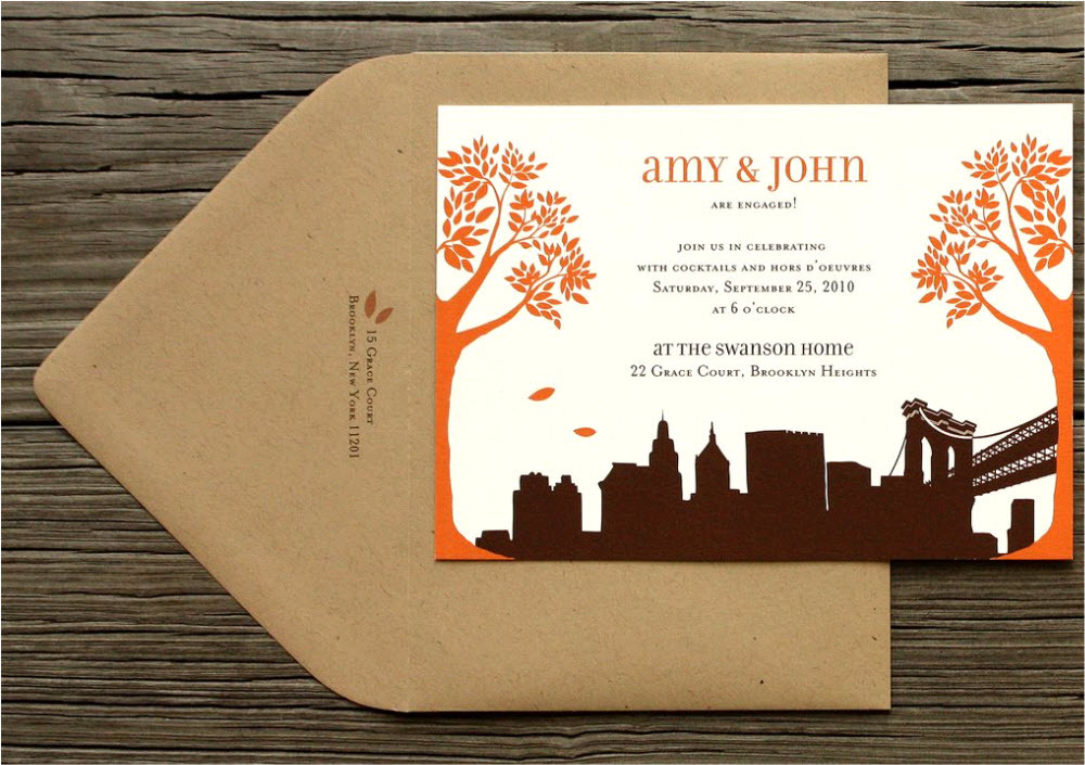 White Orange And Chocolate Brown Fall Wedding Invitations With