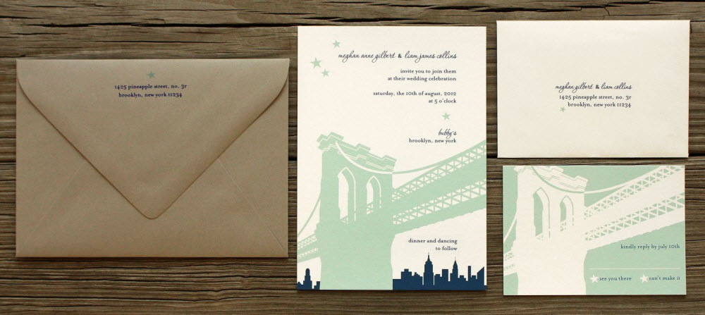 Architectural-inspired chic wedding invitations from PostScript Brooklyn