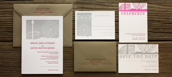Chic white wedding invitations with grey font and a pop of pink