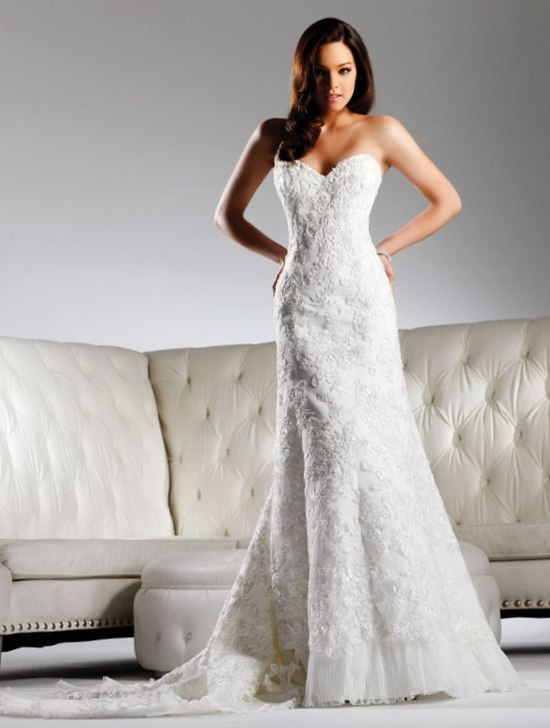 Ivory lace fit and flare wedding dress with sweetheart neckline