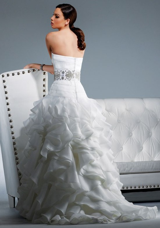 Strapless white wedding dress with gorgeous jeweled cumberbund and ruffled skirt