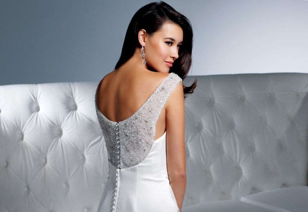 Timeless White Wedding Dress Inspired By Audrey Hepburn With Beaded Back
