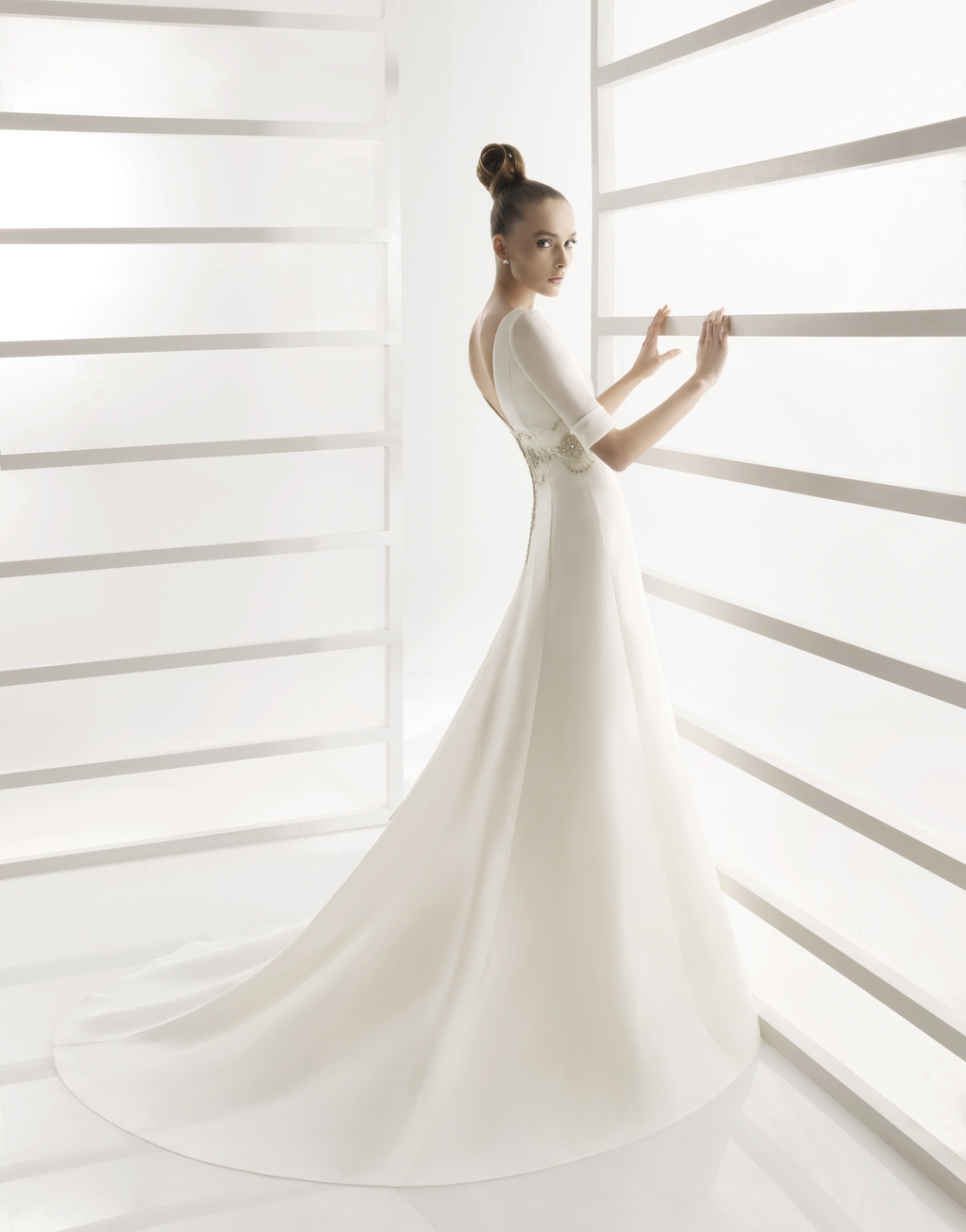 A line modest wedding dress with three quarter length for Wedding dresses with three quarter length sleeves