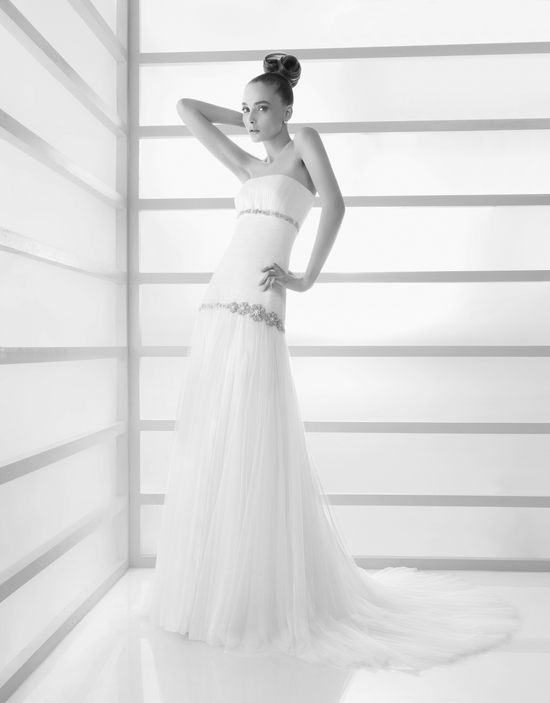 White lace strapless wedding dress with jeweled bands under the bust and at the waist