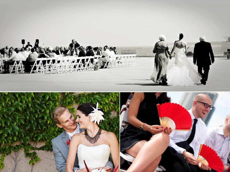 Outdoor-summer-wedding-milwaukee-wisconsin-white-wedding-dress-red-bridal-shoes-fans-at-ceremony.full
