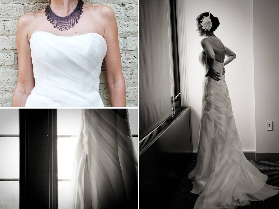 White strapless a-line wedding dress complimented by silver statement necklace