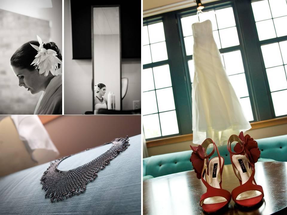 Chic-milwaukee-wisconsin-wedding-open-toe-red-bridal-heels-white-wedding-dress-statement-necklace.full