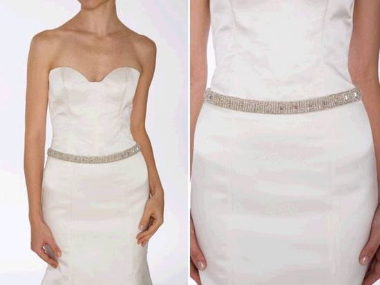 Gorgeous silver beaded bodice illusion wedding dress with for Wedding dress accessories belt