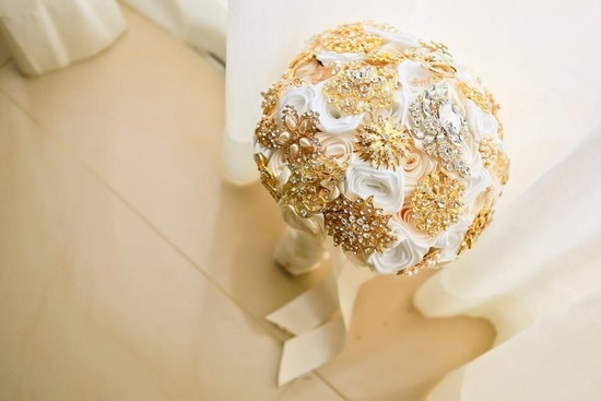 White & Gold Beach Themed Brooch Bouquet