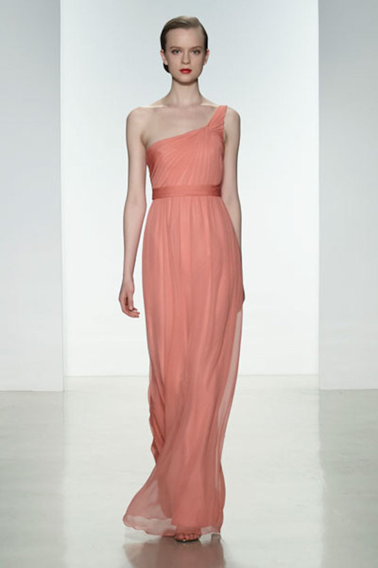 One Shouldered Guava Chiffon