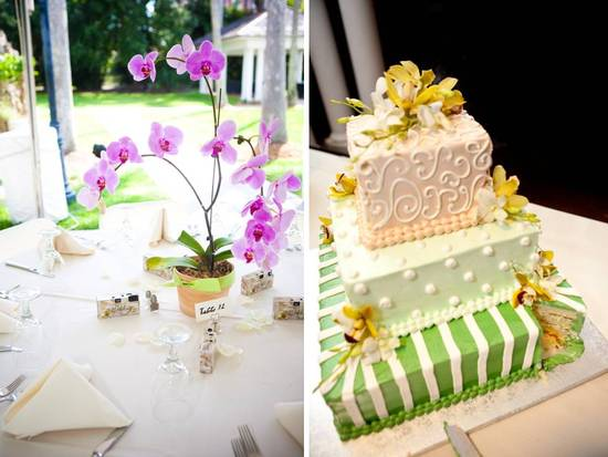 Ivory, yellow, green three-tier square wedding cake adorned with yellow orchids