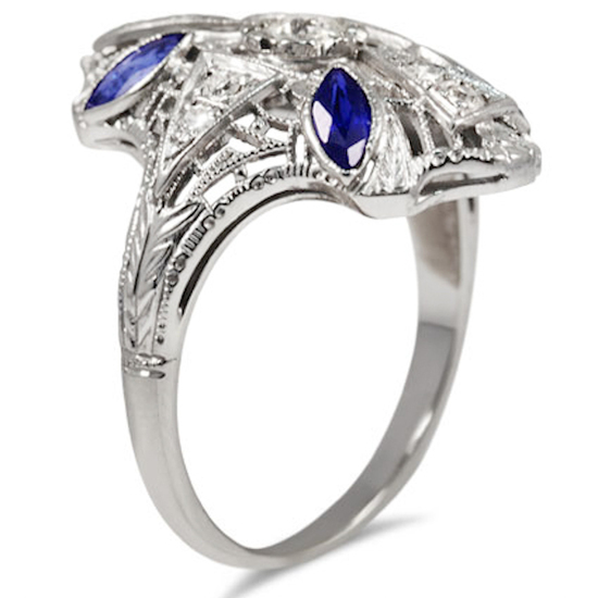 Art Nouveau with Diamonds and Sapphires